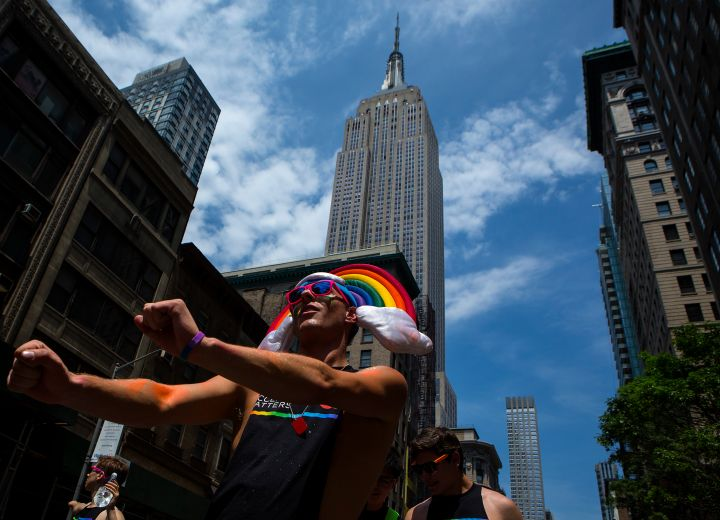 Pride parade winds through the streets of NYC.