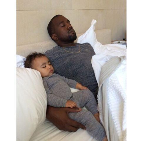 North and Kanye West sleeping