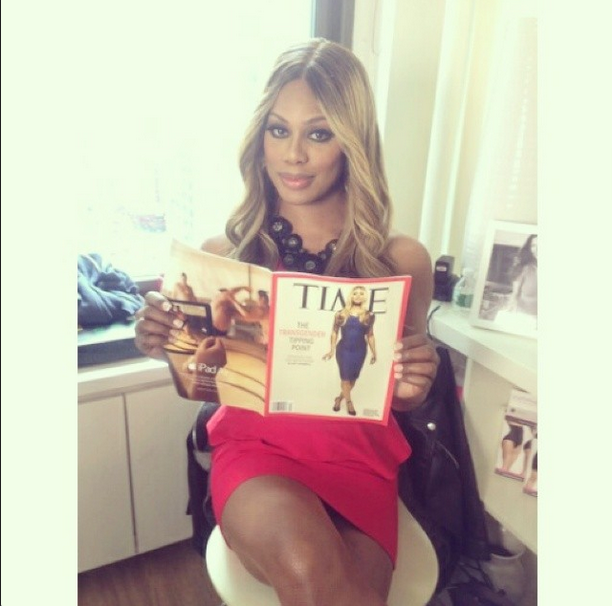 Laverne Cox Holding Up Her TIME Magazine Cover.