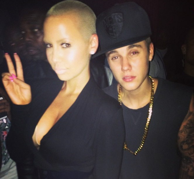 Amber Rose chills with Justin Bieber.