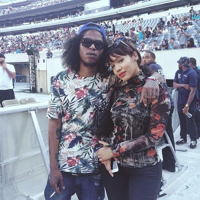 Ab-Soul posed with his girlfriend Yaris at Summer Jam at Met Life Stadium.