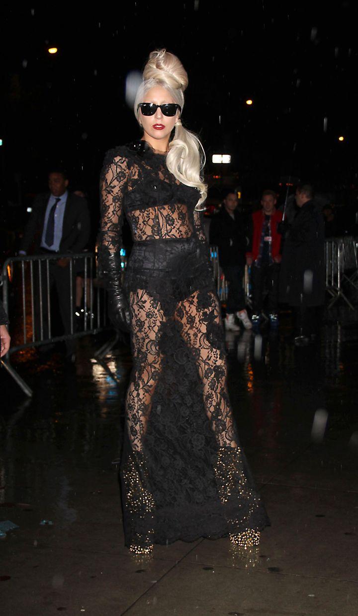 Lady Gaga Flaunts A Satan Lingerie Set.