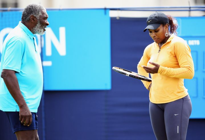 Skies out, thighs out! Richard Williams rocks short shorts in London with Serena in 2011.