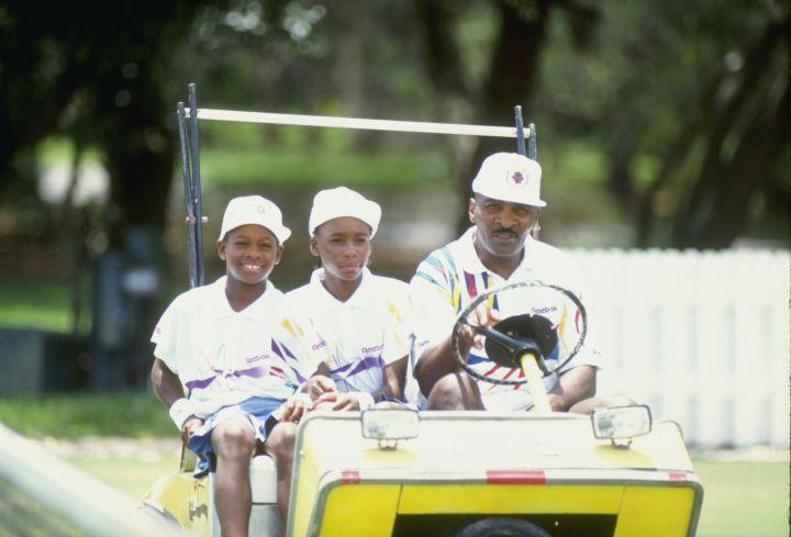 Venus, Serena, and Richard ride around at tennis camp in 1992.