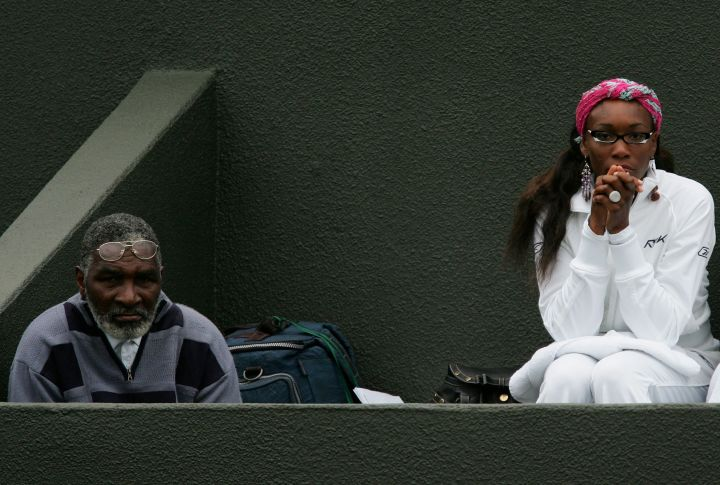 Venus and Richard watch Serena do her thing in London in 2005.