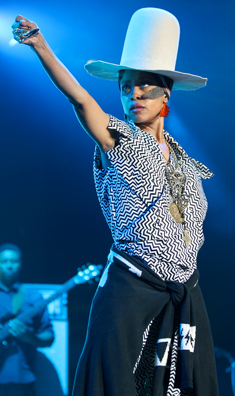 Erykah Badu performs at the Mercedes Benz Super Dome in New Orleans during the 20th celebration of the Essence Festival, presented by McDonald's.