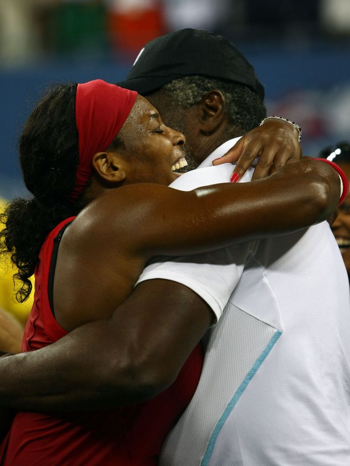 Serena shares a championship hug with her dad in 2008.