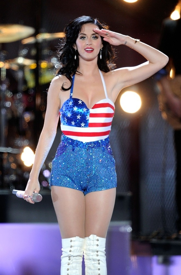 Katy Perry saluting fans in her American flag outfit.