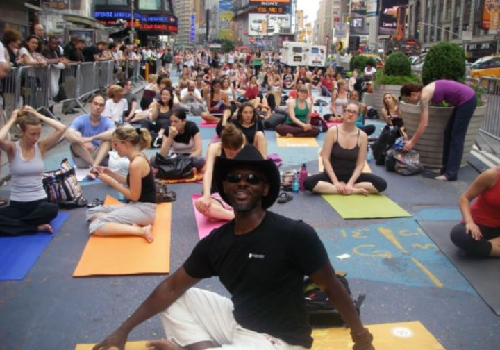 """Hollis On Teaching Yoga At 48: """"I can get my leg behind my head, I can do backbends, I can do all kinds of things I used to think people at my age couldn't do. Only because I stopped holding on to what people's expectations of me should be."""""""