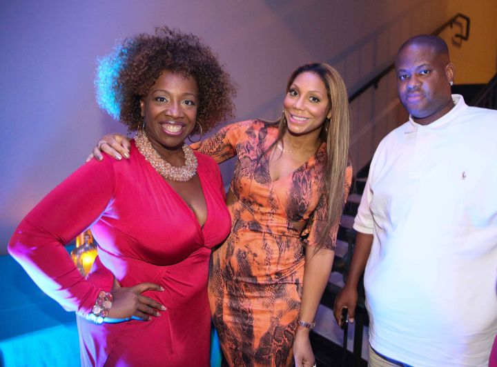 """Tamar Braxton, Vince and Lisa Nichols chat at the """"My Black Is Beautiful,"""" dinner, presented by P&G."""