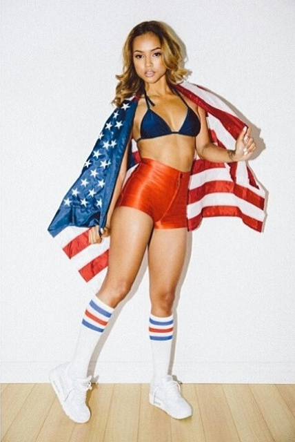 Karrueche shows a lot of 4th of July pride.