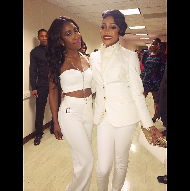 All White: Sevyn meets up with her idol Monica backstage at a show.