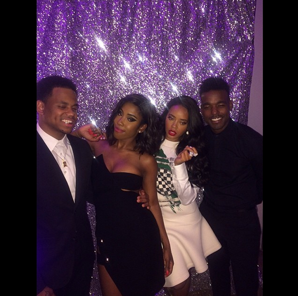 Sevyn gives off elegance in this prom-like photo booth pic with Mack Wilds, Angela Simmons, and Luke James at a pre-BET Awards party.