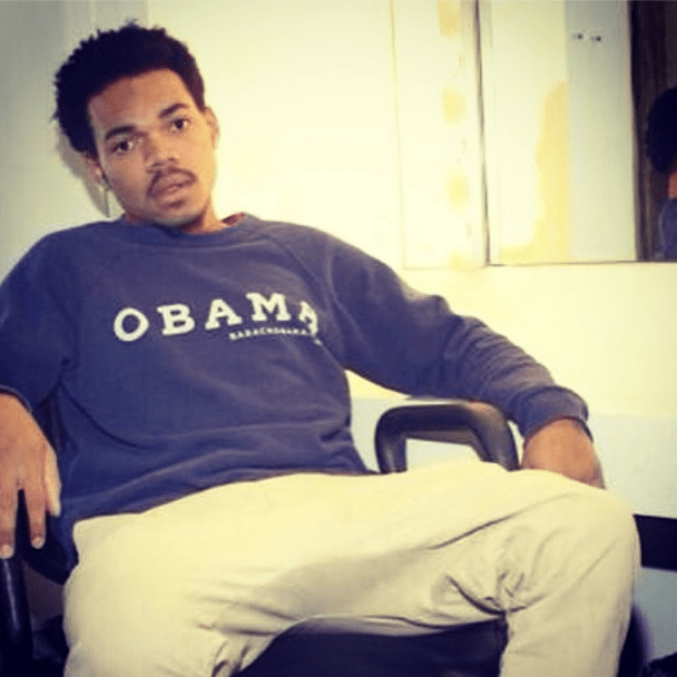 Chance The Rapper showing support in his Obama sweatshirt.