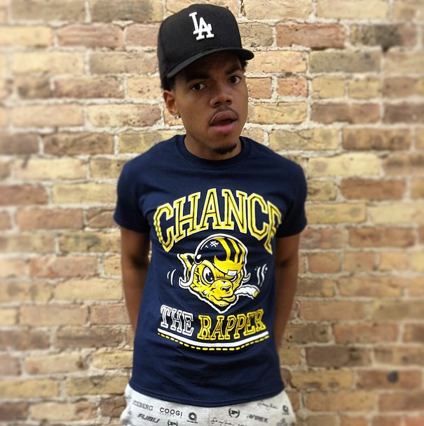 Chance the Rapper in his trippy T-Shirt.