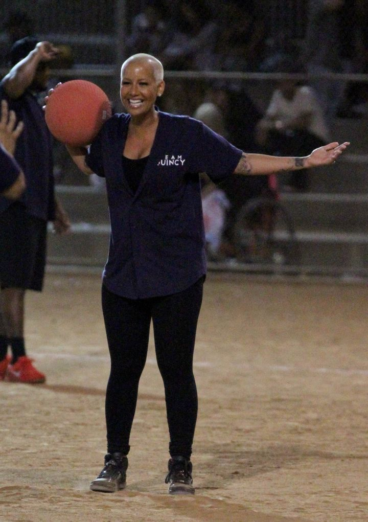 Amber Rose competes with a huge smile on her face