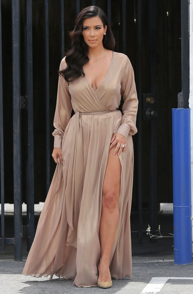 Kim Kardashian showing off her legs while leaving a studio in Los Angeles***NO DAILY MAIL SALES****