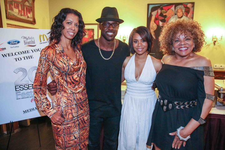 Lance Gross and Regina Hall chat with Verizon and publisher Jamie Foster Brown at Verizon's Dooky Chase dinner in New Orleans.