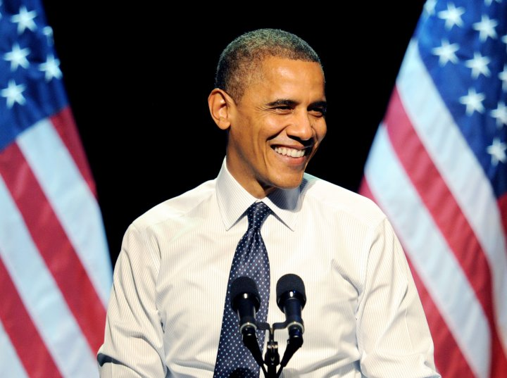During one of speeches, the president made sure to smile to his supporters.