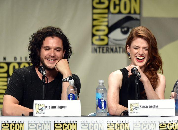 "Kit Harington met his on-again off-again girlfriend Rose Leslie on the set of ""Game of Thrones."""