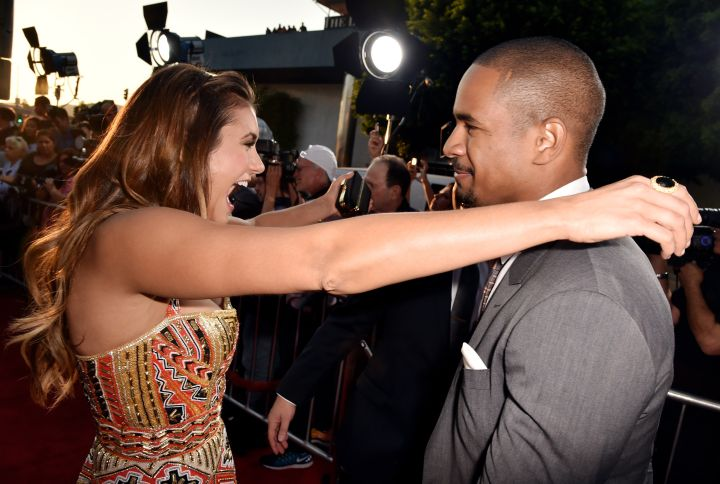 """Nina Dobrev and Damon Wayans Jr hug on the red carpet of the """"Let's Be Cops"""" Premiere in Los Angeles."""