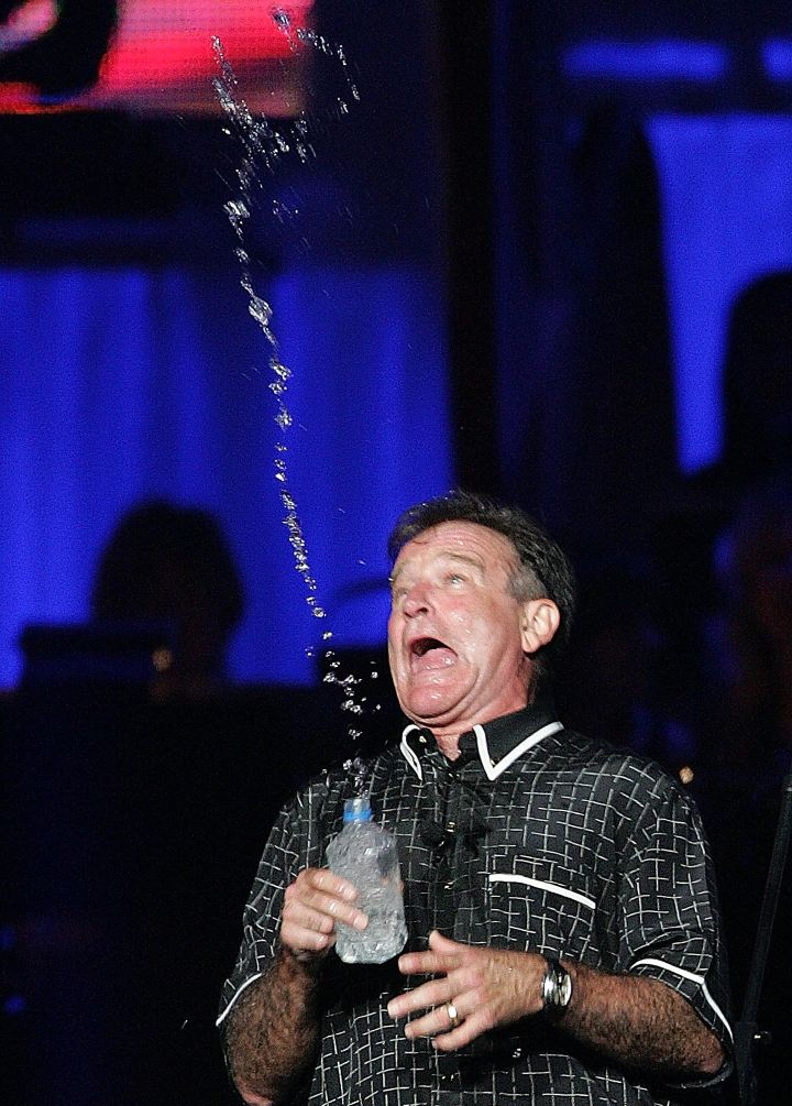 Robin Williams during a standup routine, 2004