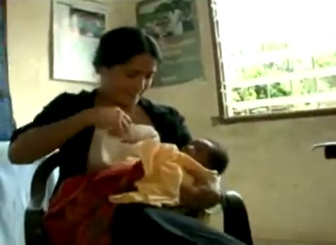Salma Hayek breastfed a hungry baby while in Africa.