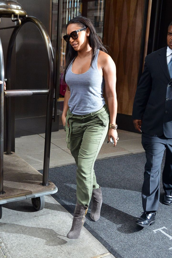 Melanie 'Mel B' Brown was spotted leaving her downtown hotel wearing a gray tank top and army green pants in New York City.