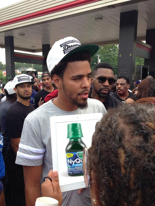 J. Cole joined the protests in Ferguson after Mike Brown's death.