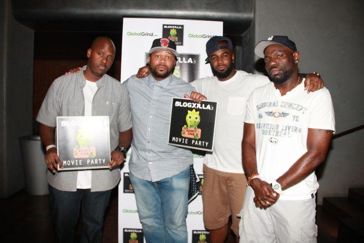 RealTalkNY's Nigel D, BlogXilla, Jemaray Pyatt, and XXL's Sean Malcolm pose at the BlogXilla Movie Party.