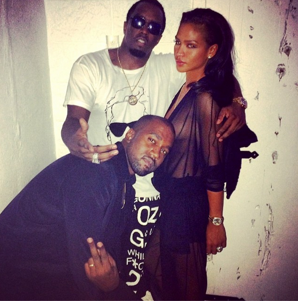Diddy poses up Cassie and Kanye at Riccardo Tisci's birthday in Ibiza
