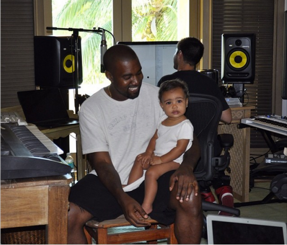 Kanye West North West studio together kim kardashian instagram