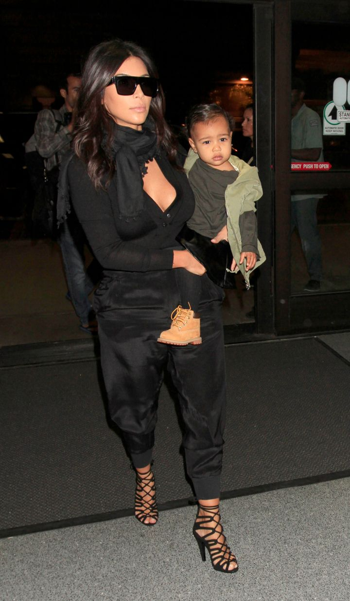 North turned heads while rocking Timberland boots leaving LAX.