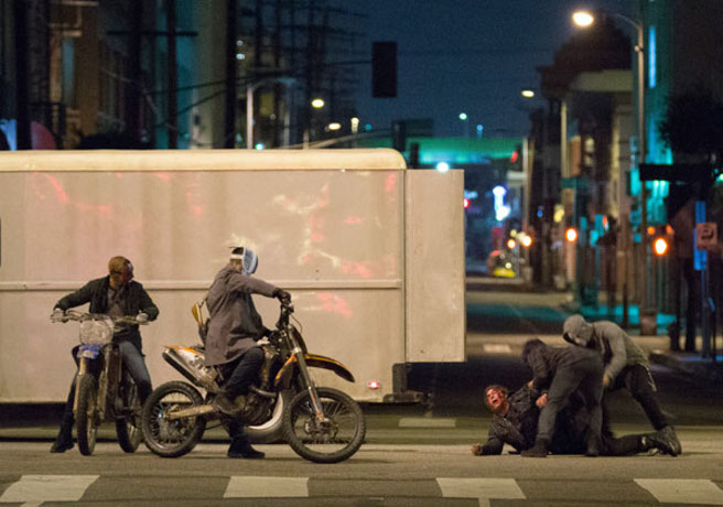 """An attack scene from """"The Purge Anarchy."""""""