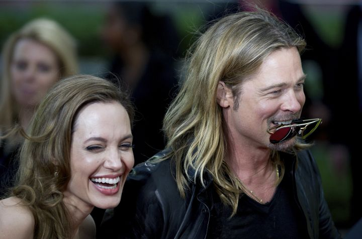 Nobody makes Angelina laugh like her hubby does.