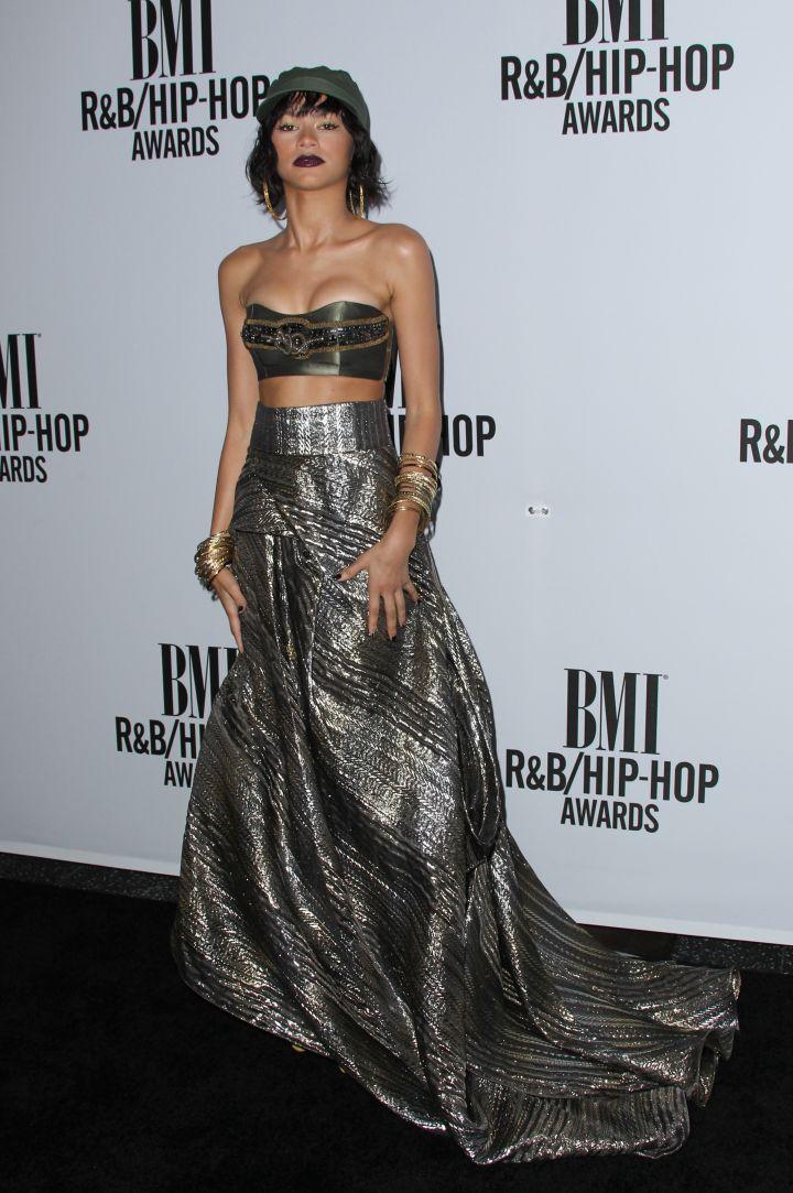 Zendaya is a beauty in a metallic dress.