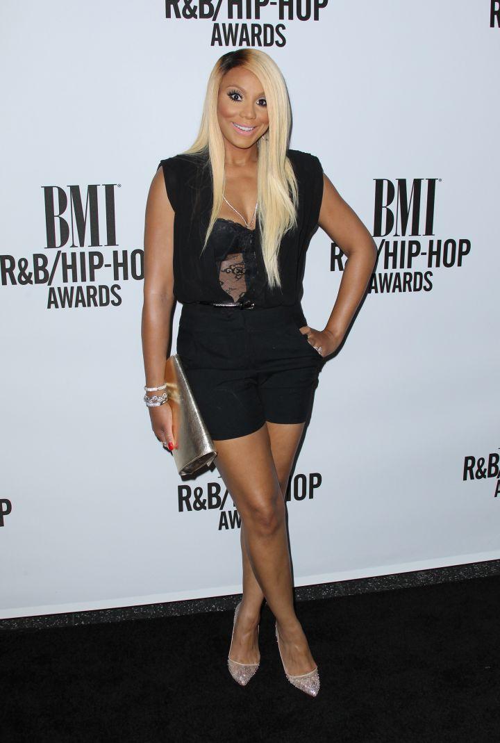 Tamar Braxton goes all black everything.