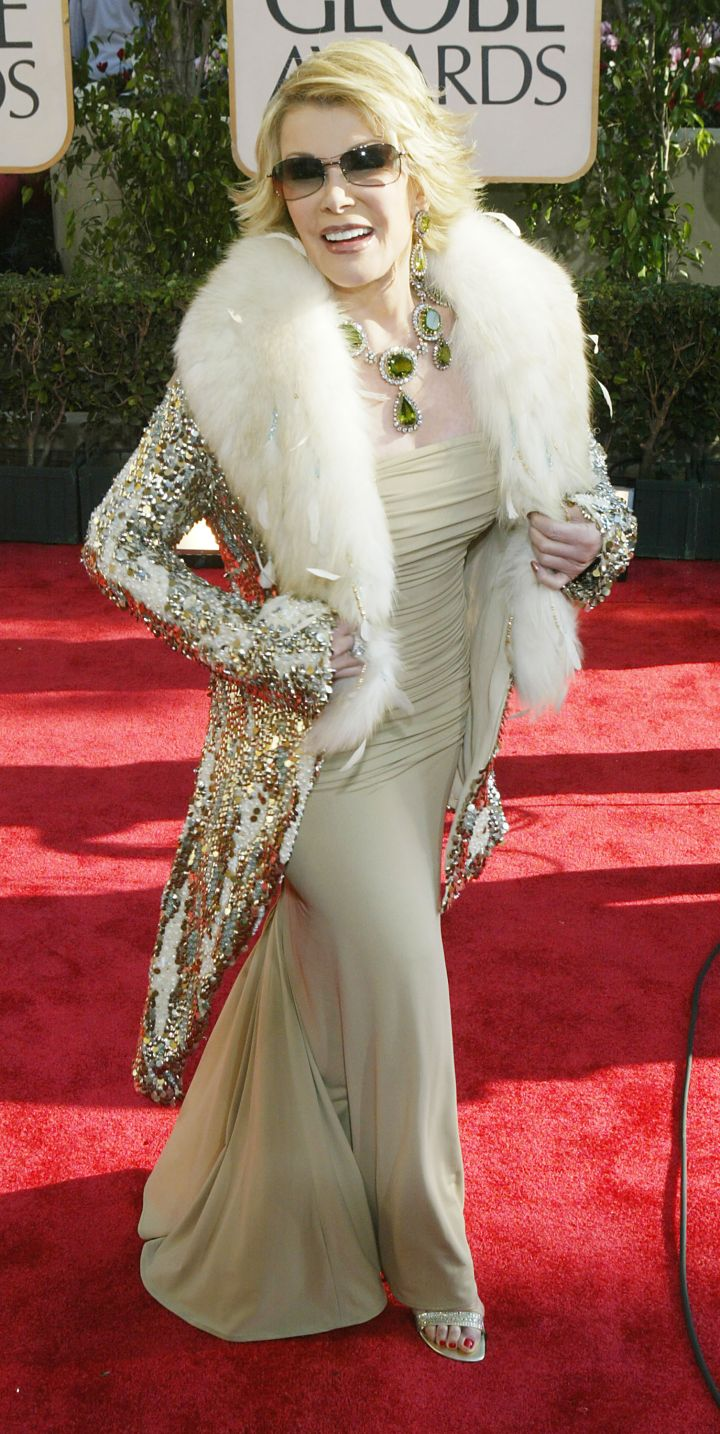 It was all sequins and gold for Joan at the 61st Annual Golden Globe Awards.