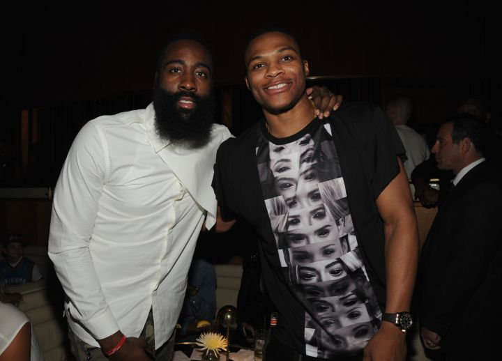 James Harden and Russell Westbrook at the NBA 2K15 Launch Celebration at The Standard.