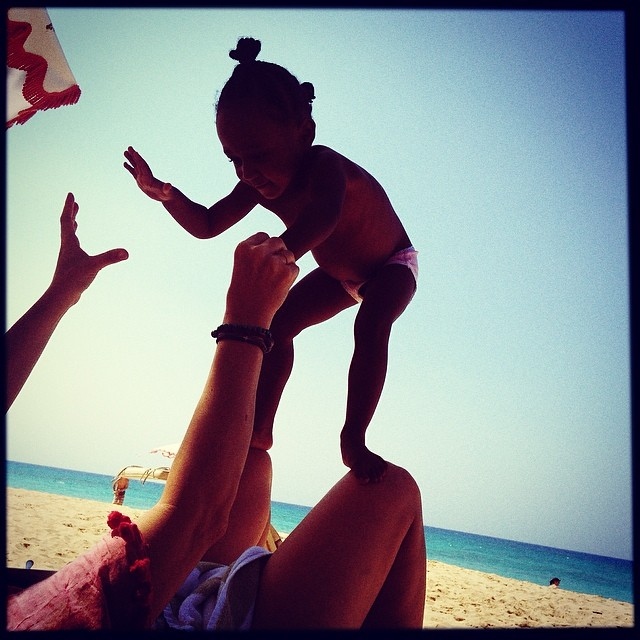 Beach day with daughter Amaya.