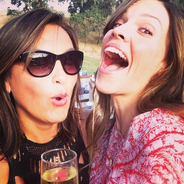 Champagne with BFF Hilary Swank.