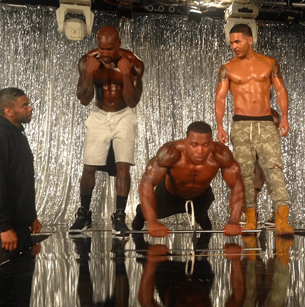 Some of the guys get into their best buff shape on set.