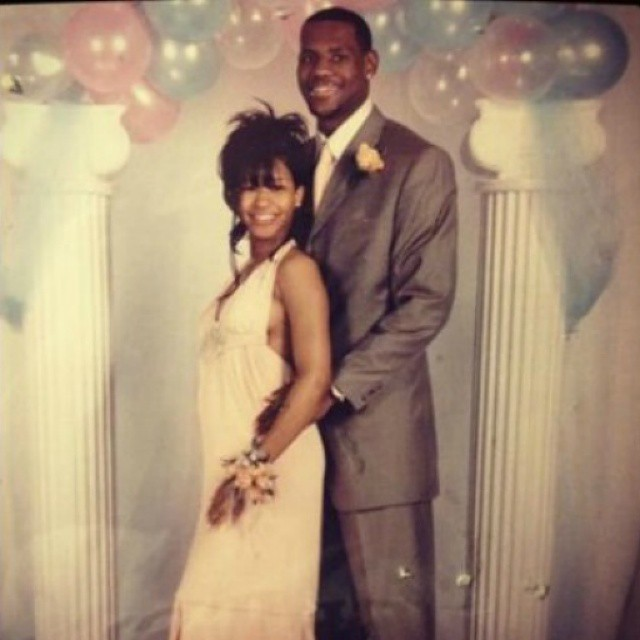 Young love for Savannah and LeBron at prom in high school.