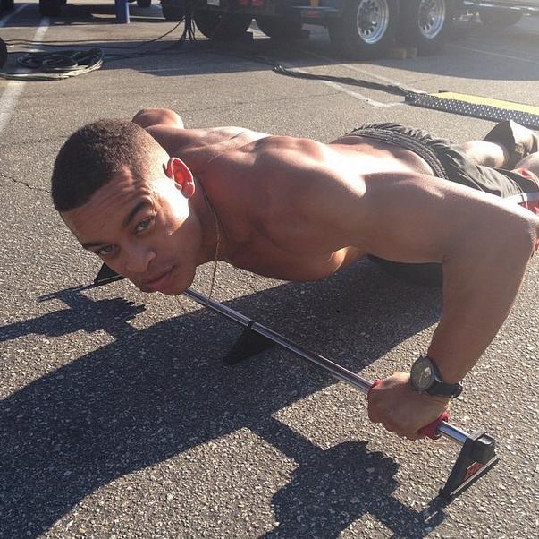 Robert Ri'chard gets in shape on set.