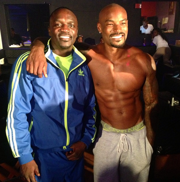Akon stops by set to see the guys do their thing.