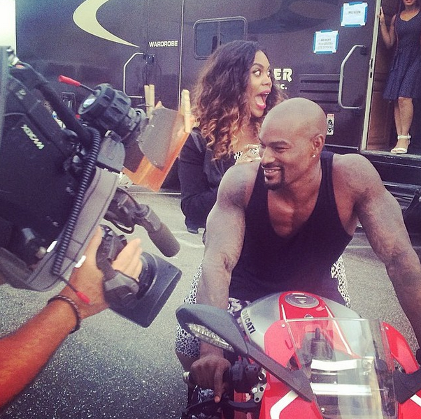Tyson Beckford gave one lucky lady a motorcycle ride.