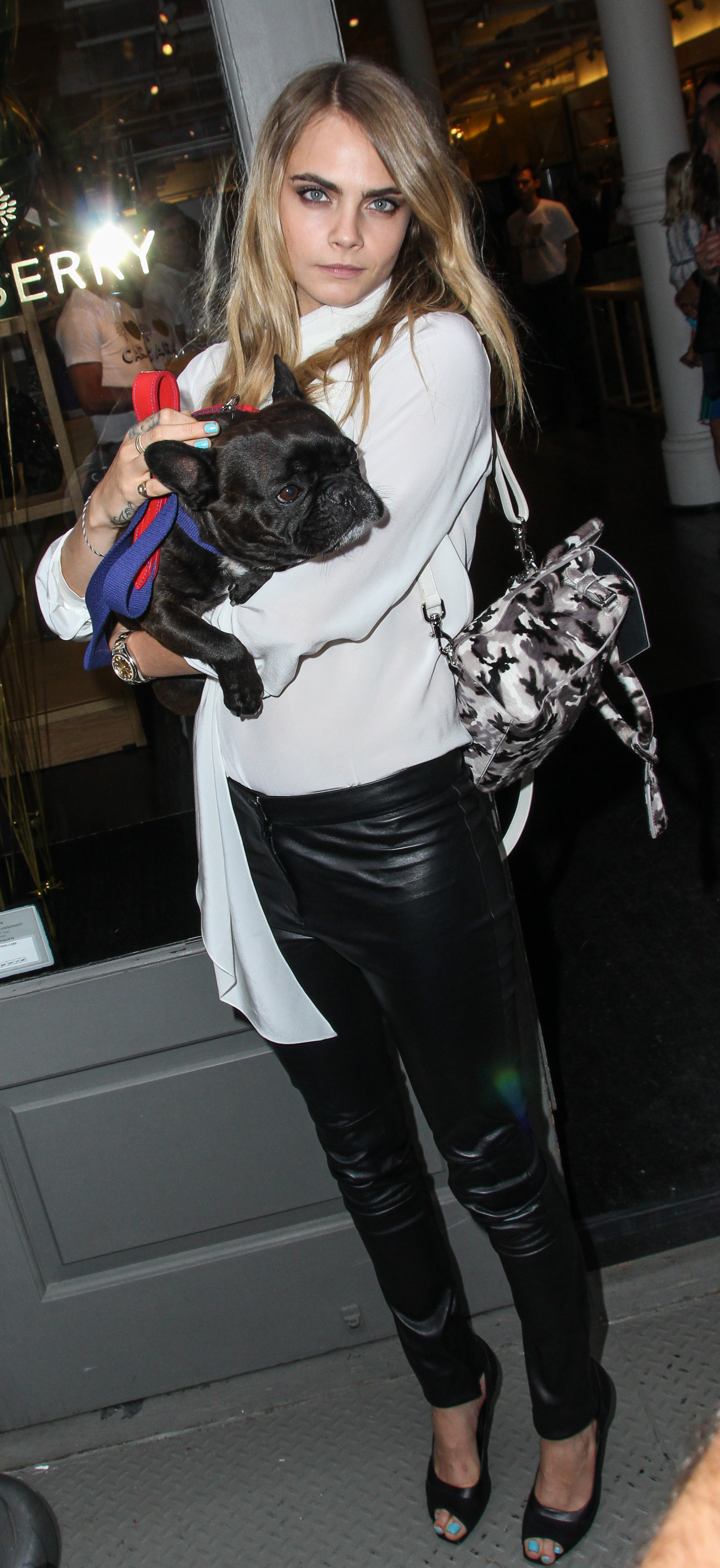 Cara Delevingne Is Spotted in Soho NYC Holding A Dog InHer Arms