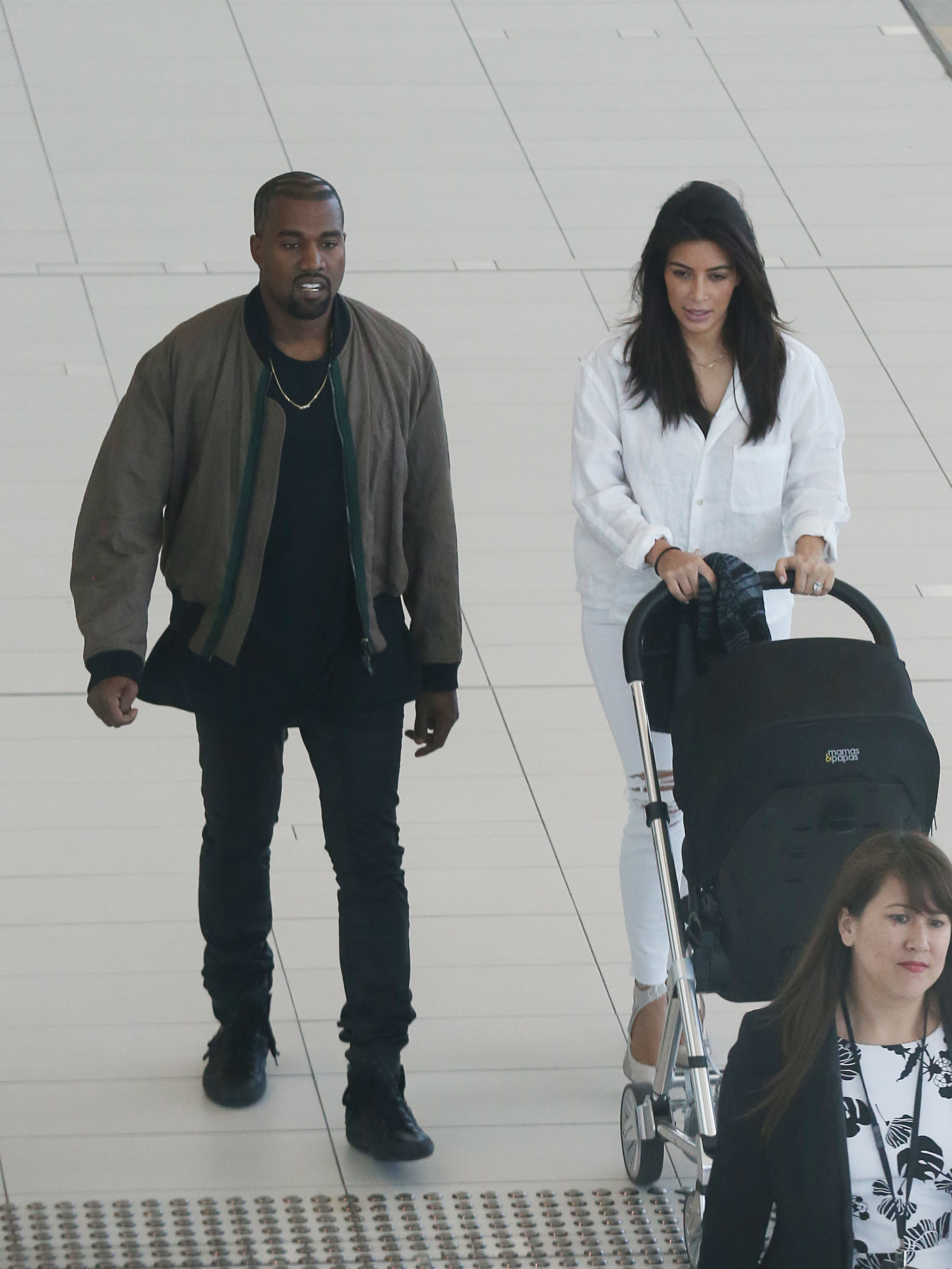 Kim Kardashian and Kanye West leave Brisbane airport