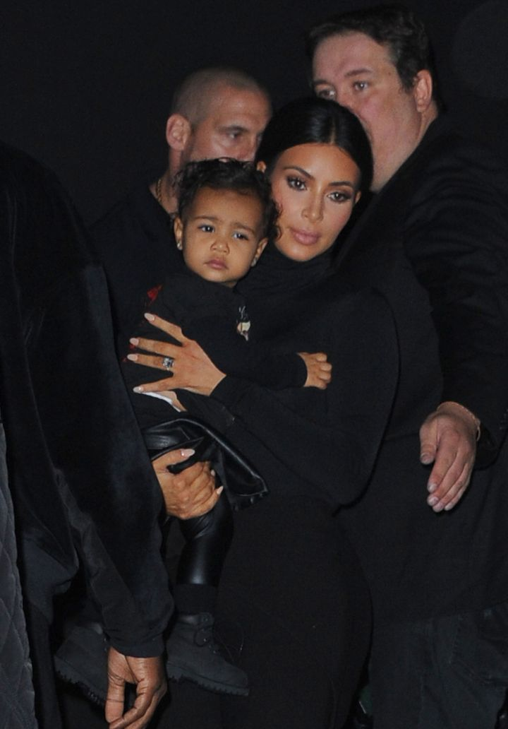 Nori headed to another fashion show during Paris Fashion Week donning her dad's Yeezus attire.