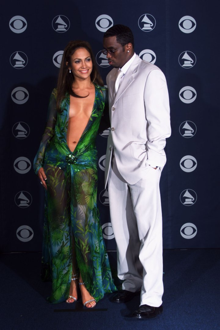 """Jennifer Lopez & Sean """"Puffy"""" Combs hit the 42nd Annual Grammys together."""